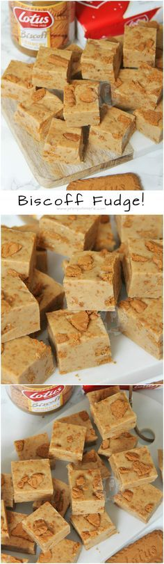 ❤️ A Delicious and Super Easy to make Fudge Recipe absolutely brimming with the delicious Lotus Biscoff flavour! Biscoff Recipes, Fudge Recipes, Candy Recipes, Sweet Recipes, Dessert Recipes, Cookies And Cream Fudge, Triple Chocolate Cookies, Yummy Cookies, Homemade Fudge