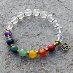 chakra, genuine chakra gemstones and crystal bead mala bracelet – Lovepray jewelry