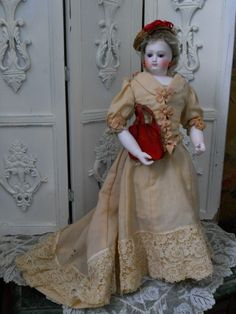 ~~~ Rare Antique French Wood-Body Poupee with Superb Costume ~~~ from whendreamscometrue on Ruby Lane