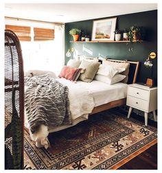 White Duvet Bedding, Dark Bedding, Shelf Over Bed, Green Accent Walls, Dark Green Walls, Dark Walls, Mid Century Bedroom, Home Decor Bedroom, Bedroom Ideas
