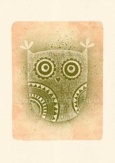 Stencil Owl art print Wall art Whimsical cute by InkFivePrints, $16.00
