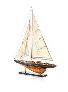 bathroom decor - Wooden Model Sailboat
