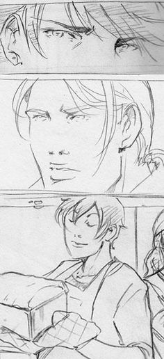 """Rough penciling work on the """"Shadow Kiss"""" graphic novel by artist Emma Vieceli: """"The boys are working hard… Christian even provided some meatloaf."""" ;)"""