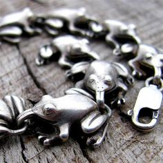 Spring Peepers Leap Frog Bracelet in by diggersgoldjewelry on Etsy, $325.00
