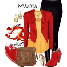 Outfit inspired by Mushu from Disney's Mulan. Disney Challenge Day 11 Favorite Animal Sidekick (Sorry, I forgot! Disney Character Outfits, Disney Themed Outfits, Character Inspired Outfits, Disney Bound Outfits, Disney Dresses, Disneyland Outfits, Disney Clothes, Fandom Fashion, Geek Fashion