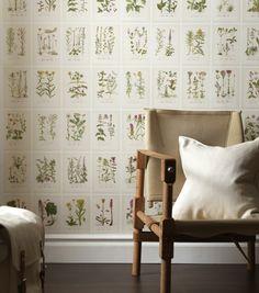 Classic Botanical Wallpaper from Swede designer Sandberg Tyg & Tapet. 234 species of flowers depicted.