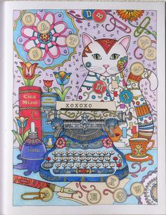 Adult coloring page, creative Cats colouring Books  Marjorie Sarnat Cats