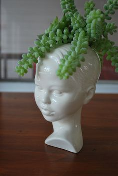 Modern Ceramic Head Planter. Made to order. by Membil on Etsy