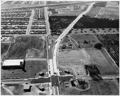 Aerial of Towne Ave from Arrow Hwy during construction (1956)   by 47specialdeluxe Pomona California, California History, San Gabriel Valley, San Luis Obispo County, Vintage Photos, Arrow, San Diego, City Photo, Construction