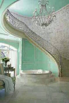 Gorgeous over-the-top luxury master bath with winding staircase to. Gorgeous over-the-top luxury master bath with winding staircase to. Modern Luxury Bathroom, Bathroom Design Luxury, Luxurious Bathrooms, Luxurious Homes, Dream Bathrooms, Beautiful Bathrooms, Interior Design Minimalist, My Dream Home, Bathroom Inspiration