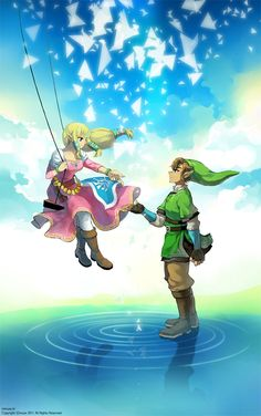 sw link and zelda by ~boba2009 on deviantART