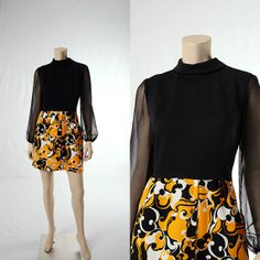 Vintage 60s 70s Groovy Mod Floral Mini Dress by CkshopperVintage, $59.00