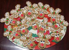 Use gingerbread men cookie cutters to cut the shape! Make and bake your gingerbread men, turn upside down and decorate. Use the legs for antlers, arms for ears and the head to place the eyes and nose.