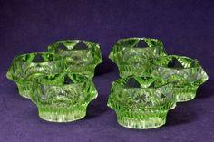 Six Green Vaseline Glass Salt Cellars by BrittDesign on Etsy https://www.etsy.com/listing/214742806/six-green-vaseline-glass-salt-cellars