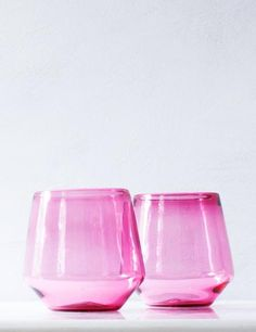Angled Wine Glass in Peony Pink (Pair) – Suite One Studio