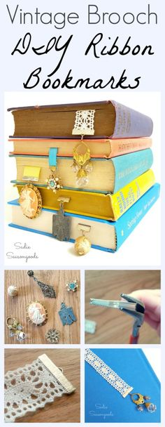 Create simple, lovely bookmarks by repurposing a vintage or retro brooch (hello, thrift store!) and some scraps of ribbon. A thoughtful, gorgeous gift for the book lover in your life (or yourself!) and a super easy DIY upcycle craft project that anyone can do. #SadieSeasongoods / www.sadieseasongoods.com