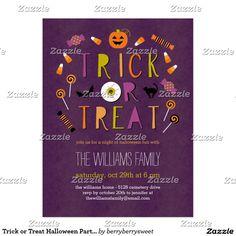 Trick or Treat Halloween Party Invitation Postcard