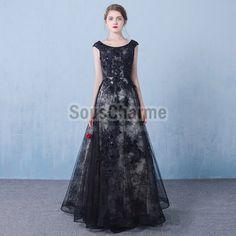 robe elegante noir de soirée longue en dentelle transparente à perles