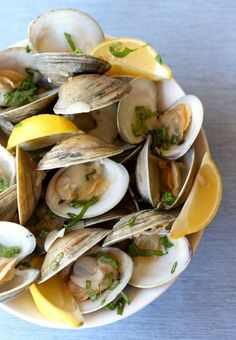 Clams steamed in beer, garlic and fresh basil.
