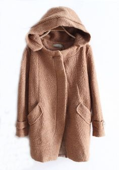 Brown Single Breasted Cape Imitated Wool Coat