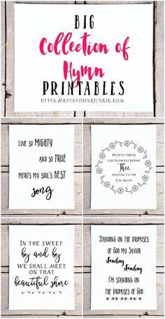 Big Collection of Free Hymn Printables - Repurposing Junkie Printable Quotes, Printable Wall Art, Free Printable Scripture, Printable Letters, Hymn Quotes, Qoutes, Hymn Art, Word Art, Free Printables