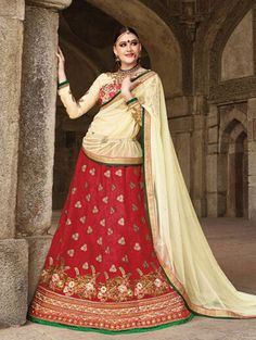 Red Pure Silk Lehenga Choli with Embroidery Work