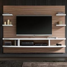 Orren Ellis Stein Floating mount Entertainment Center for TVs up to Color: Walnut Floating Entertainment Center, Living Room Entertainment Center, Entertainment Area, Tv Unit Decor, Tv Area Decor, Tv Wall Decor, Modern Tv Wall Units, Modern Tv Room, Tv Unit Furniture