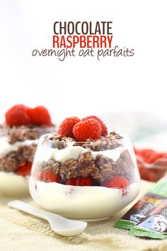 Chocolate Raspberry Overnight Oat Parfaits. With oatmeal, raspberries and Greek Yogurt, this breakfast recipe will keep you satisfied for hours!