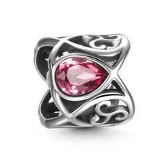 Pink Water Drops Charm 925 Sterling Silver