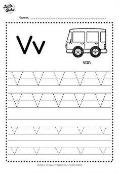 Free Letter V Tracing Worksheets Letter Worksheets For Preschool, Alphabet Tracing Worksheets, Preschool Writing, Tracing Letters, Preschool Letters, Abc Tracing, Preschool Forms, Tracing Lines, Handwriting Worksheets