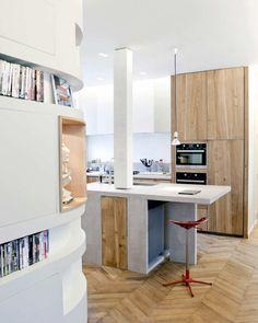 minimal white and light wood modern kitchen, post through kitchen island