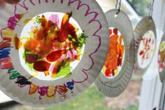 Suncatchers. I love the idea of using a paper plate for the frame. I'll have to check out how much contact paper costs and see if it's worth getting some to make the sun catcher inside.