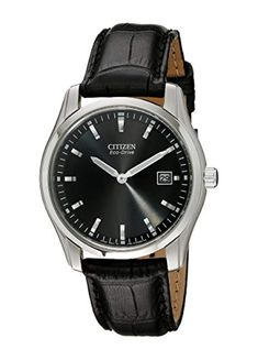A revolutionary timepiece, the Citizen Men's Strap Eco Drive Watch no doubt deserves a closer look. watch Eco-Drive technology is fueled by light. Cool Watches, Watches For Men, Wrist Watches, Men's Watches, Luxury Watches, Citizen Eco, Stainless Steel Watch, Black Silver, Citizen Watches