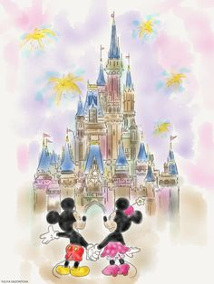 Mickey and Minnie mouse #mickey mouse #minnie mouse #disney #castle  #sketch #drawing