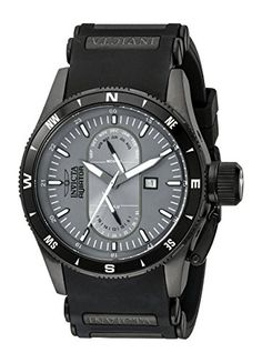 Men's Wrist Watches - Invicta Mens 1748 Aviator Flight Grey Dial Black Polyurethane Watch >>> Details can be found by clicking on the image.