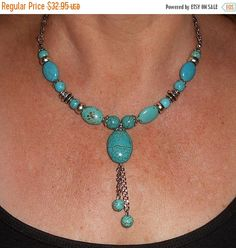 SALE Turquoise necklace, Turquoise tassel necklace, bib necklace, bohemian necklace, gift for her, gift ideas, bohemian jewelry, funky jewel