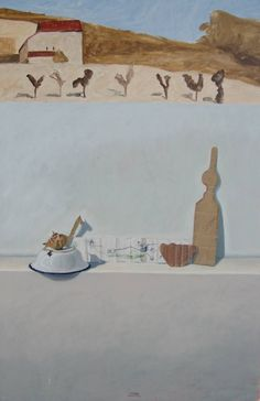 Buy Morandi, a Oil on Canvas by Wolfram Diehl from Germany. It portrays: Still Life, relevant to: realistic, traditional, still life, fine arts, sybolistic, memories Symbolistic Still Life, realistic, traditional mixing technique, painted in many colour layers, very old technique realized in modern context