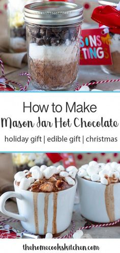 This hot chocolate recipe in a jar is a beautiful gift to give this holiday season! This is the perfect homemade gift for the chocolate lover in your life, and a really thoughtful way to show you care! Make the hot chocolate mix in under 5 minutes, for a quick and easy gift! #hotchocolate #jarhotchocolate #masonjarhotchocolate  via @homecookskitchndr #BrownieCake Hot Chocolate Recipe For Gifts, Mason Jar Hot Chocolate Recipe, Salted Caramel Chocolate Cake, Chocolate Brownies, Hot Cocoa Mix Recipe In A Jar, Chocolate Chocolate, Chocolate Cheesecake, Chocolate Lovers, Christmas Hot Chocolate