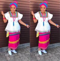 Winnie Mashaba takes today's outfit of the day crown in this colourful traditional sePedi outfit. Setswana Traditional Dresses, Venda Traditional Attire, South African Traditional Dresses, Traditional Wedding Attire, African Print Dresses, African Print Fashion, African Fashion Dresses, African Dress, African Prints