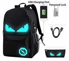 Lmeison Anime Luminous Backpack Daypack Shoulder School Bag Laptop Bag with USB Charger Port and Lock & Pencil Case, Unisex Fashion Rucksack Laptop Travel Bag College Bookbag, Black Laptop Backpack, Black Backpack, Travel Backpack, Backpack Bags, Backpack Online, Boys Backpacks, School Backpacks, Awesome Backpacks, Usb