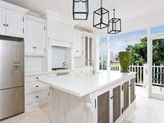 Classic island kitchen design using tiles