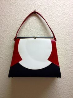 Vintage Melbourne Purse Red White Blue with Gold Hardware
