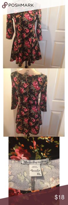 American Rag Black Floral Fitted Dress Quarter sleeve. Pretty floral pattern! Goes great with some leggings and boots. Like new condition only worn once! American Rag Dresses Midi