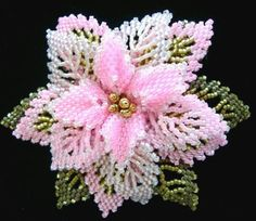 Beadwork Pink Holiday Pin Karla Gee Oh, how beautiful! You must be gifted! Beaded Flowers Patterns, French Beaded Flowers, Crochet Flowers, Beading Patterns, Beaded Brooch, Beaded Jewelry, Beaded Necklaces, Beads And Wire, Fuse Beads