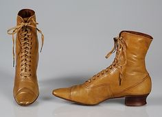These lace up boots were worn by ladies in the 1890's. They were nothing fancy, but worn to run errands in the town.