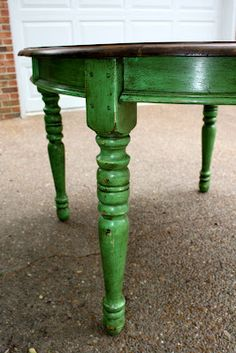Annie Sloan chalk painted table, distressed Antibes green with dark wax and a refinished table top. For the dinning room set. Chalk Paint Projects, Chalk Paint Furniture, Furniture Projects, Furniture Makeover, Diy Furniture, Green Furniture, Distressed Furniture, Repurposed Furniture, Vintage Furniture