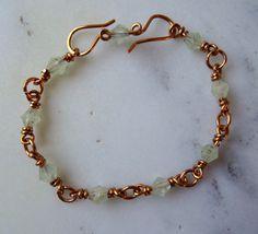 Green gemstone bracelet, Prehnite bracelet, limited edition pale green jewellery, vintage style pastel bracelet, meditation bracelet, UK - pinned by pin4etsy.com