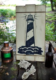 NEW!!** Rustic wooden sign ' LightHouse ' Nautical decor by VASSdesign