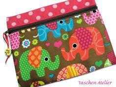 Mäppchen+ELEFANTEN+pink+++braun+++bunt+von+Taschen-Atelier+auf+DaWanda.com
