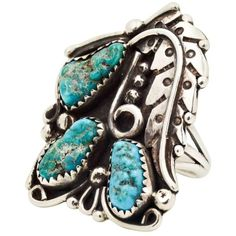 Preowned Sterling Silver And Turquoise Native American Ring ($85) ❤ liked on Polyvore featuring jewelry, rings, fashion rings, multiple, blue turquoise ring, beaded rings, native american rings, turquoise rings and sterling silver jewellery